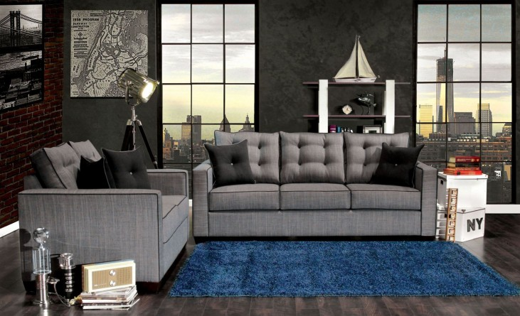 Ravel I Gray Fabric Living Room Set