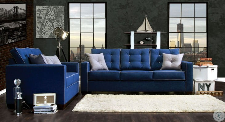 Ravel I Blue Fabric Living Room Set From Furniture Of