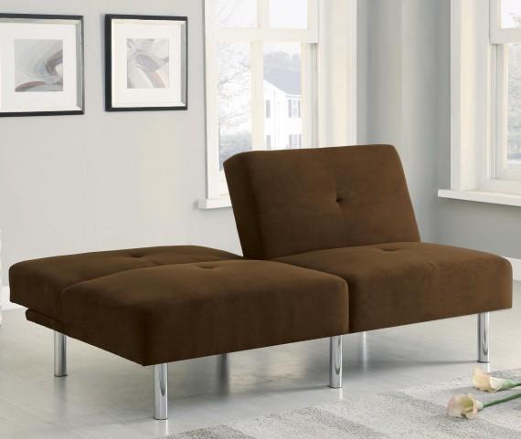 300207 Chocolate Microfiber Split Back Sofa Bed