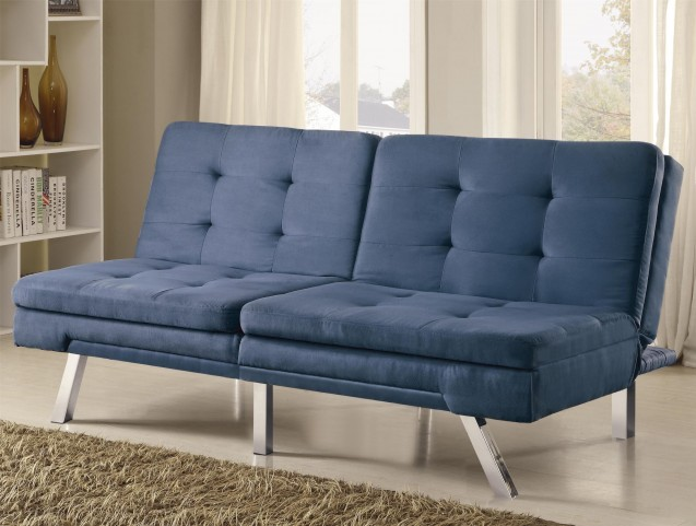 300212 Blue Microfiber Split Back Tufted Sofa Bed