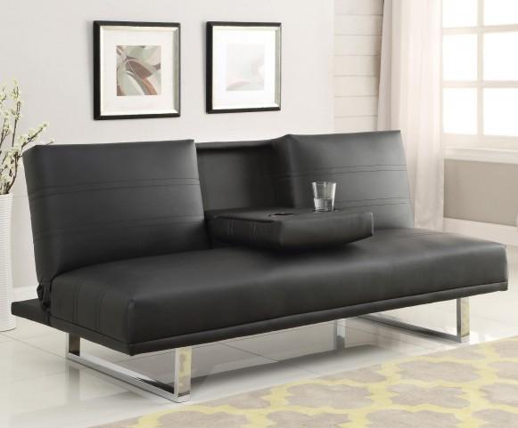 500155 Black leatherette Sofa Bed