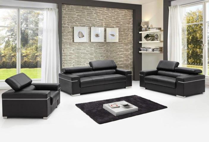 terrific black leather living room set   Soho Black Leather Living Room Set, 17655111-S-BK, JNM