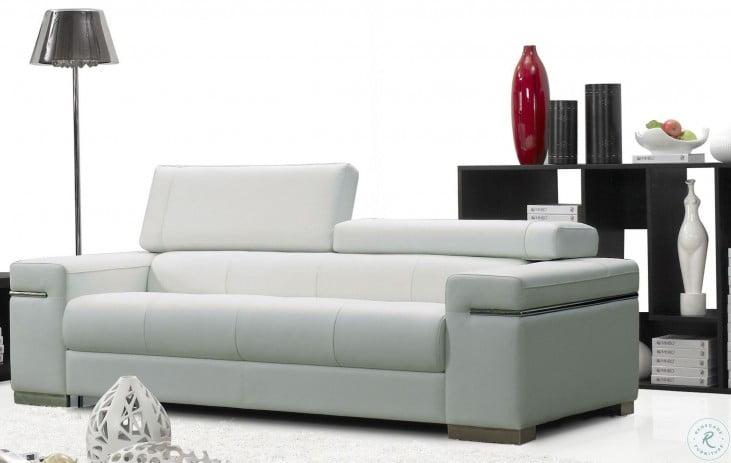 Soho White Leather Living Room Set