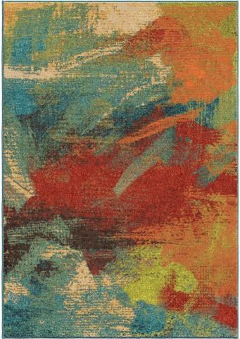 Spoleto Bright Color Abstract Impressions Multi Small Area Rug
