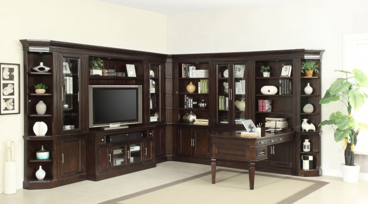 Stanford L Shape Entertainment Wall With Peninsula Desk