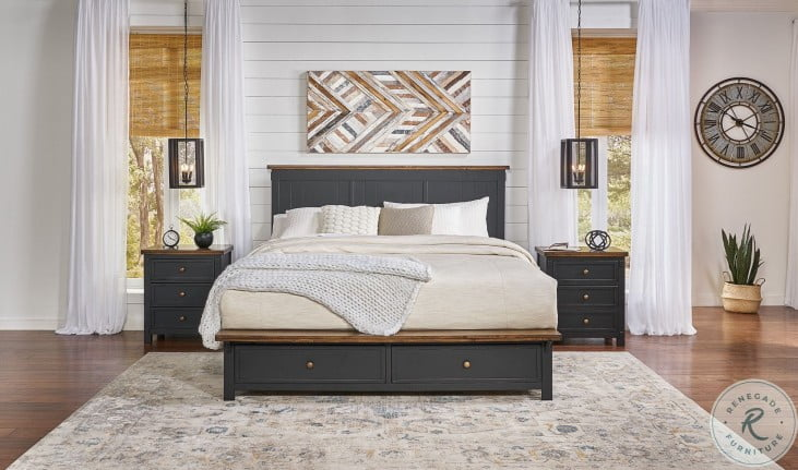 Stormy Ridge Chickory And Black Queen Platform Storage Bed