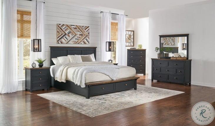 Stormy Ridge Chickory And Black Platform Storage Bedroom Set