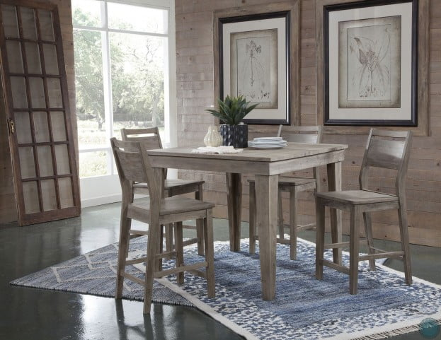 Modern Rustic Gray Wash Aspen Counter Height Dining Table