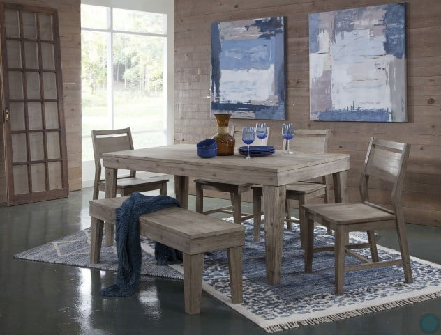 Modern Rustic Gray Wash Aspen Rectangular Dining Table