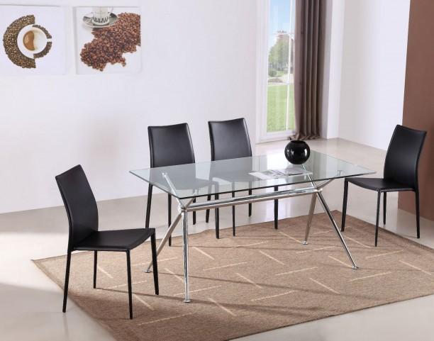 T058 Glass Rectangular Dining Room Set