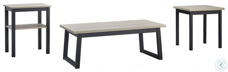 Waylowe Natural and Black 3 Piece Occasional Table Set