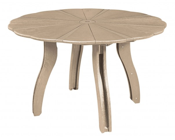 """Generations Beige 52"""" Scalloped Round Dining Table"""
