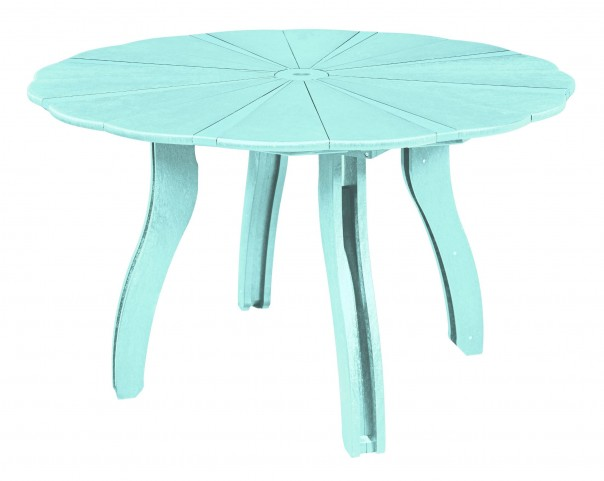 "Generations Aqua 52"" Scalloped Round Dining Table"