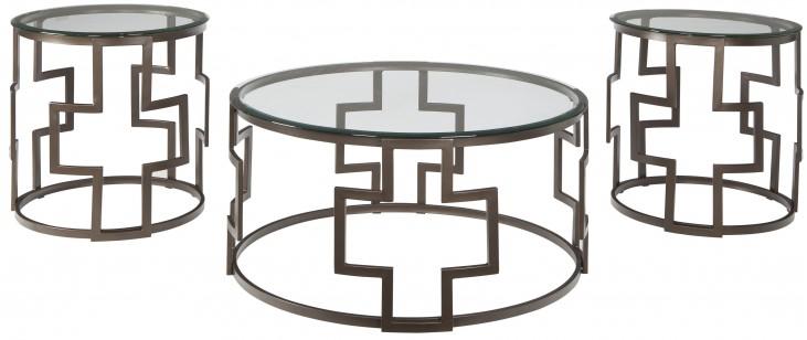 Frostine Dark Bronze 3 Piece Occasional Table Set