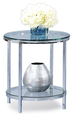 Patinoire Polished Chrome Round End Table