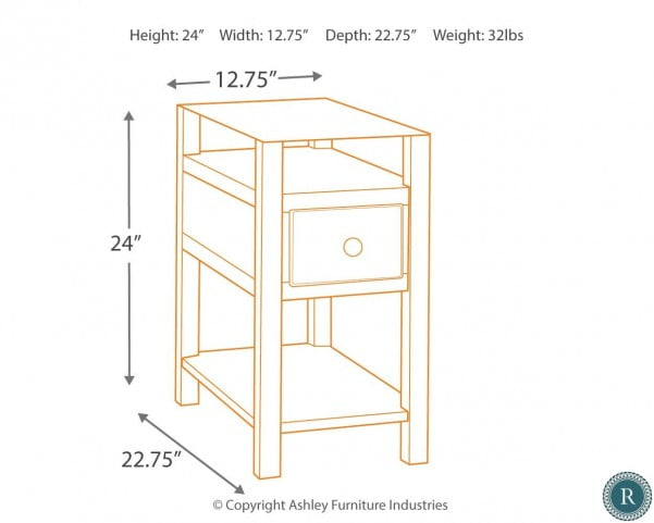 f8ff6a3ceb569a Diamenton Almost Black Drawer Chair Side End Table from Ashley | Coleman  Furniture