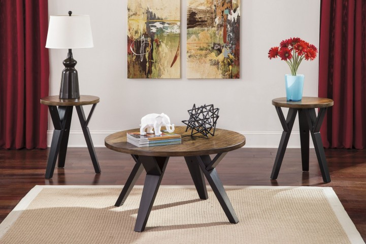 Ingel Browns 3 Piece Occasional Table Set
