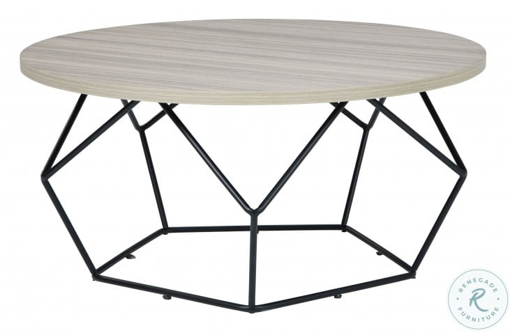 Waylowe Light Brown and Black Occasional Table Set