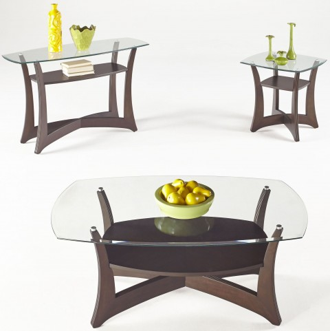 Abacoa Dark Walnut Occasional Table Set