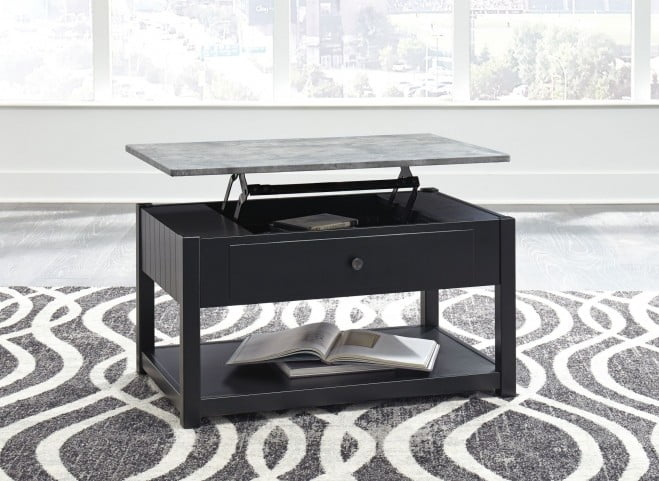 Ezmonei Black and Gray Lift Top Cocktail Table