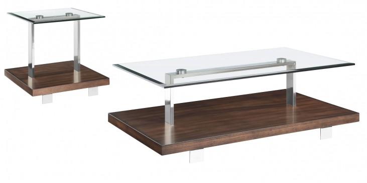 Modern Loft Nutmeg Brush Nickel Occasional Table Set