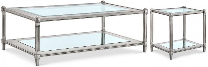 Platinum Metallic Silver Rectangular Occasional Table Set