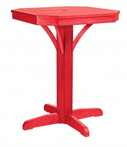 "St Tropez Red 28"" Square Counter Pedestal Table"