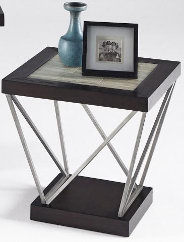 East Bay Woodtone Tile Rectangular End Table
