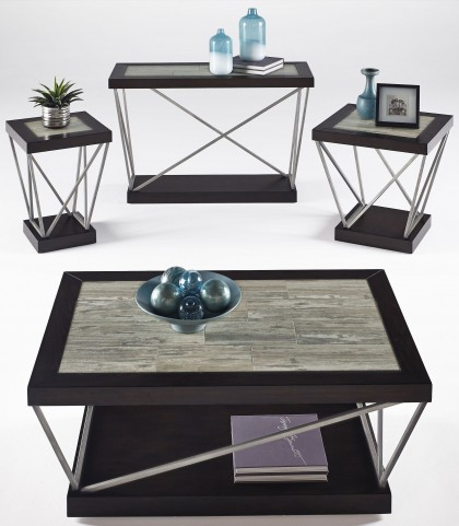 East Bay Woodtone Tile Occasional Table Set