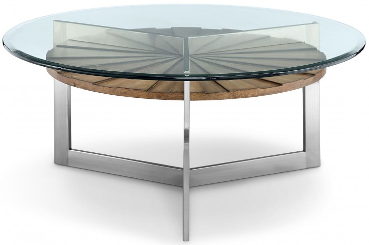 Rialto Toffee And Brushed Nickel Round Cocktail Table