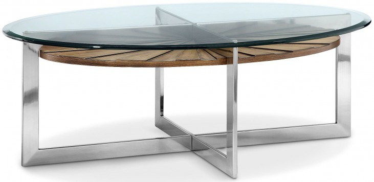 Rialto Toffee And Brushed Nickel Oval Cocktail Table
