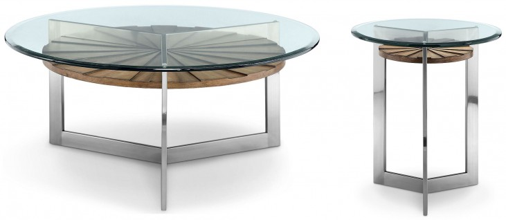 Rialto Toffee And Brushed Nickel Round Occasional Table Set
