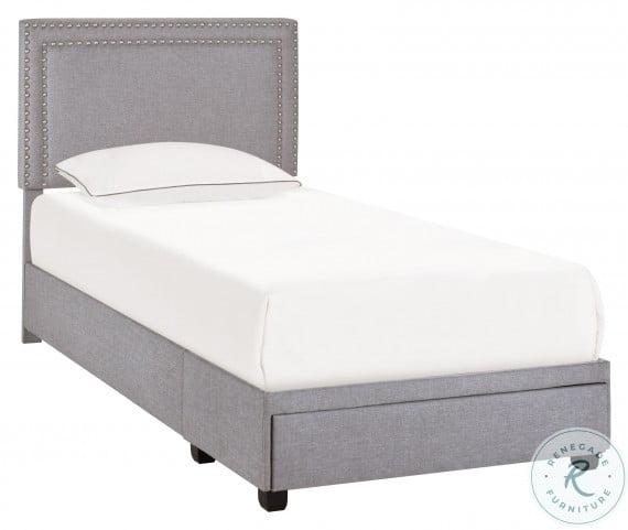 Ds-D402-284-3 Glacier Nail Trim Twin Upholstered Platform Storage Bed