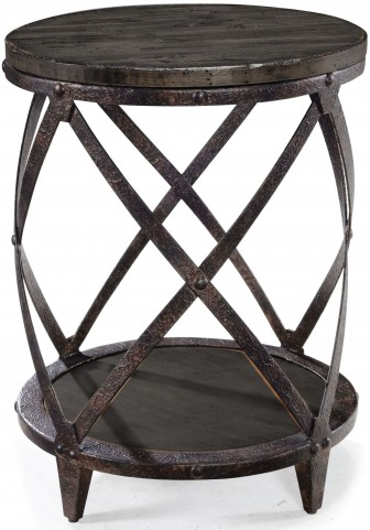 Milford Weathered Charcoal And Gunmetal Round Accent Table