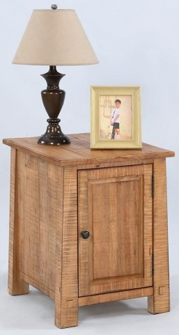 Willow Distressed Pine Chairside Cabinet