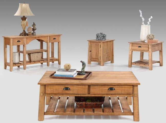 Willow Distressed Pine Occasional Table Set