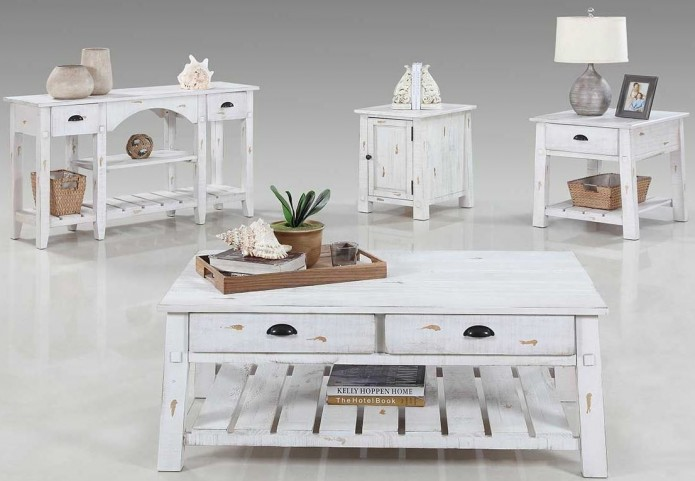 Willow Distressed White Occasional Table Set