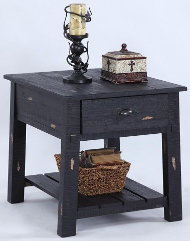 Willow Distressed Black Rectangular End Table