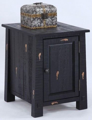 Willow Distressed Black Chairside Cabinet