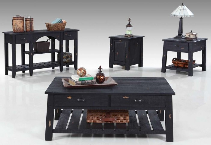 Willow Distressed Black Occasional Table Set