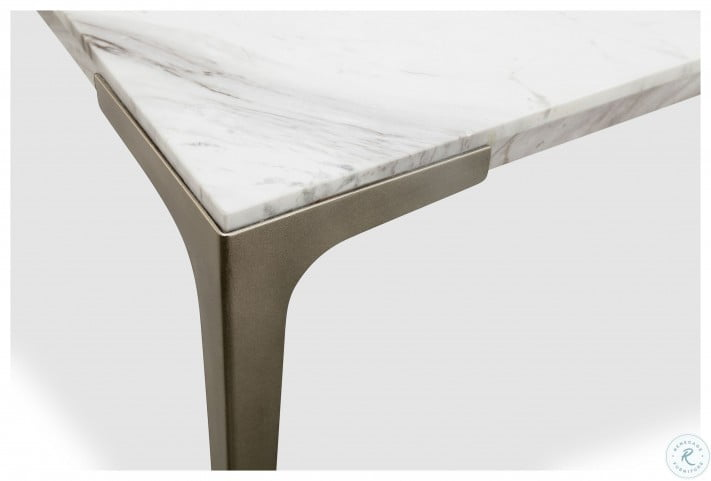 Mercer White Marble Rectangle Cocktail Table From Magnussen Home Coleman Furniture