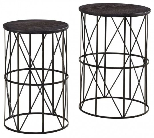 Marxim Dark Bronze Nesting End Tables Set Of 2