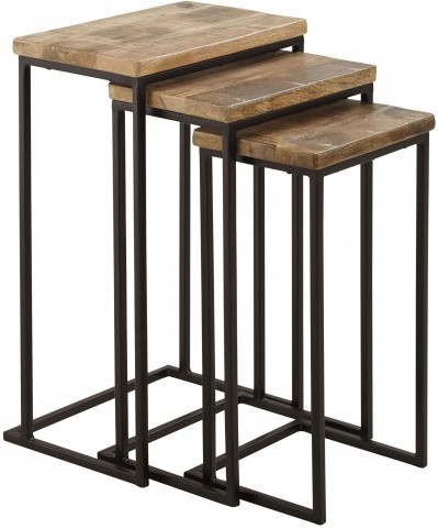 Marxim Brown and Black 3 Piece Nesting End Table