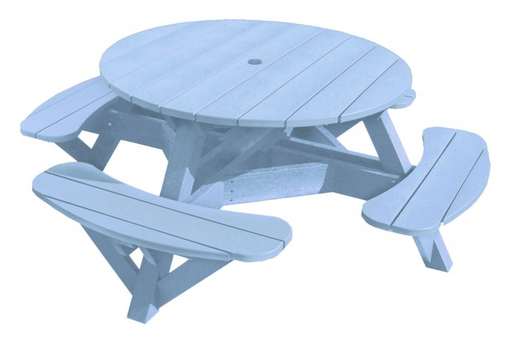 "Generations Sky Blue 51"" Round Picnic Table"