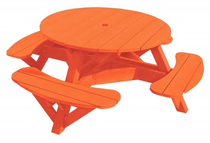 "Generations Orange 51"" Round Picnic Table"