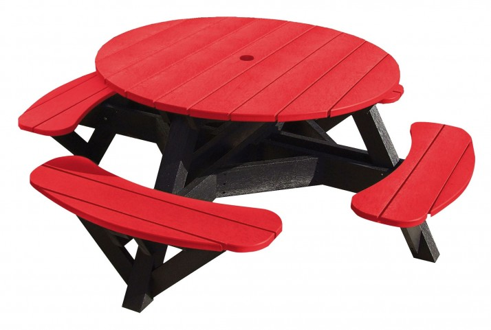 "Generations Red 51"" Round Black Frame Picnic Table"