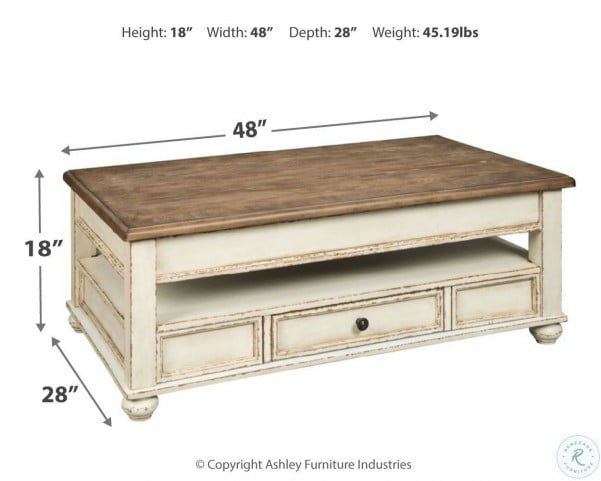 Realyn White And Brown Lift Top Cocktail Table From Ashley Coleman Furniture
