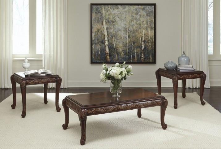 Florrilyn Reddish Brown 3 Piece Occasional Table Set