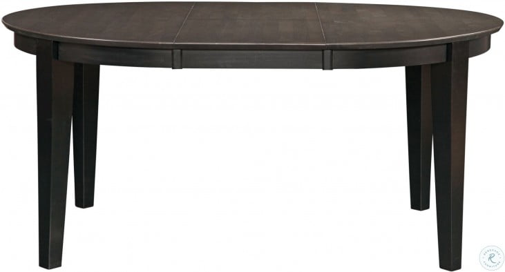 Cosmopolitan Coal and Black Oval Butterfly Extendable Dining Table