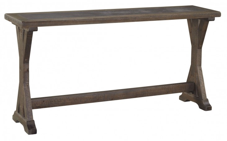Valkner Grayish Brown Sofa Table